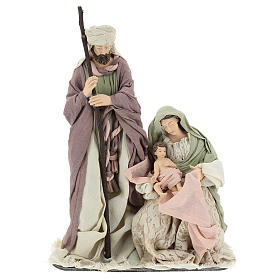 Nativity 45 cm in Shabby Chic style with fabric and lace details s1