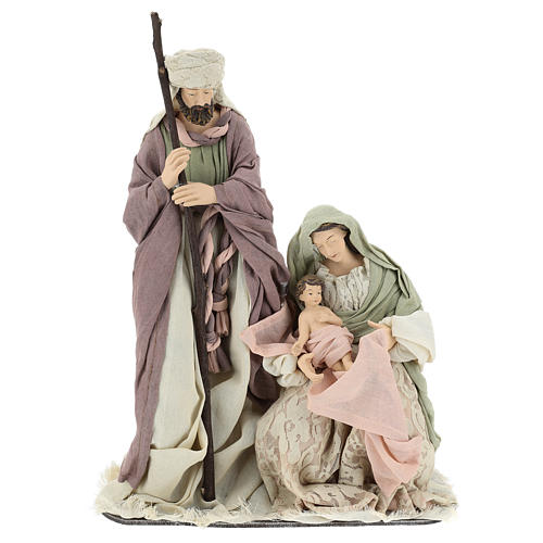 Nativity 45 cm in Shabby Chic style with fabric and lace details 1