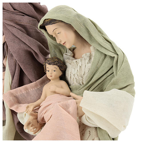 Nativity 45 cm in Shabby Chic style with fabric and lace details 2