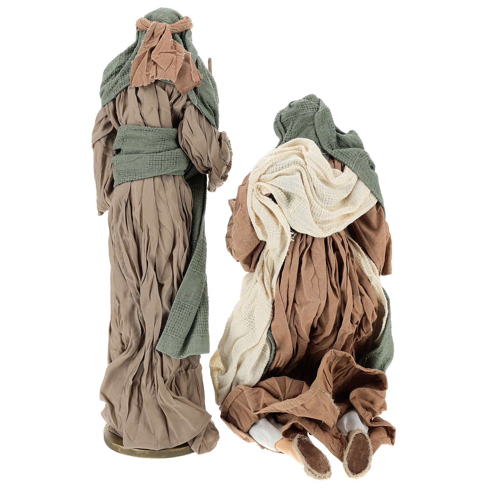 Nativity 55 cm in Shabby Chic style with clothes made of green and brown gauze 3