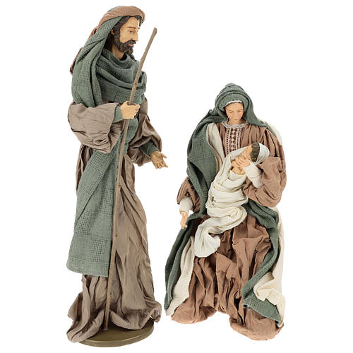 Nativity 55 cm in Shabby Chic style with clothes made of green and brown gauze 1
