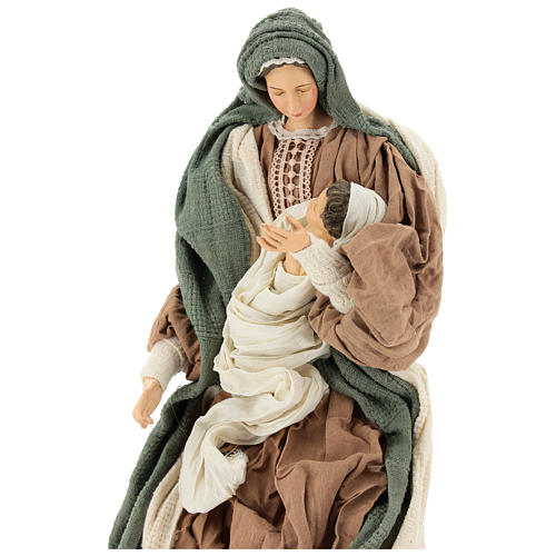 Nativity 55 cm in Shabby Chic style with clothes made of green and brown gauze 2