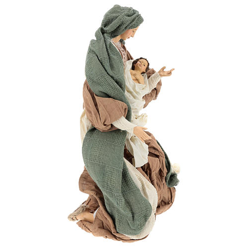 Nativity 55 cm in Shabby Chic style with clothes made of green and brown gauze 4