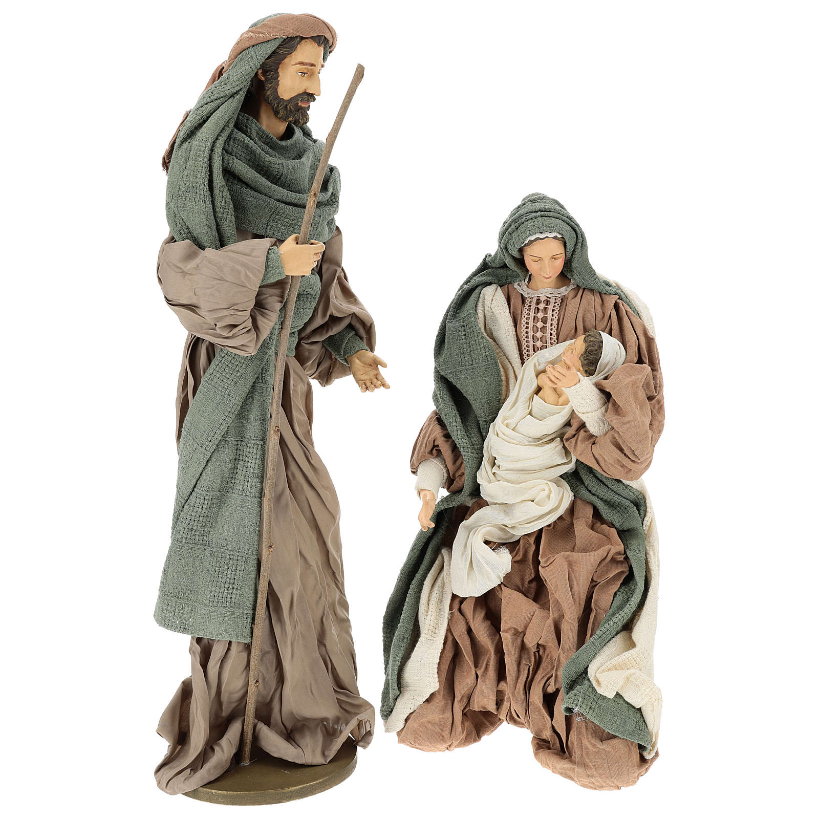 Holy Family set 55 cm, in terracotta green and brown gauze 3