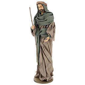Holy Family set 55 cm, in terracotta green and brown gauze s3
