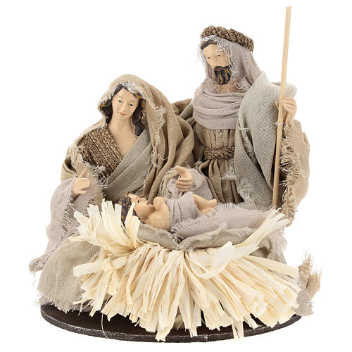 Nativity 20 cm Shabby Chic style in resin with clothes made of gauze 1
