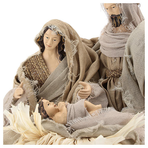 Nativity 20 cm Shabby Chic style in resin with clothes made of gauze 2
