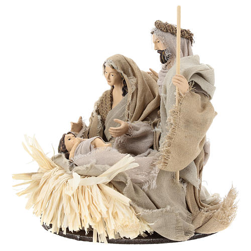 Nativity 20 cm Shabby Chic style in resin with clothes made of gauze 3