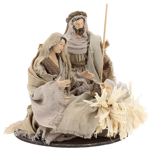 Nativity 20 cm Shabby Chic style in resin with clothes made of gauze 4
