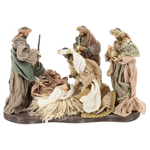 Nativity set 30 cm, in terracotta on base diam 40 cm 1