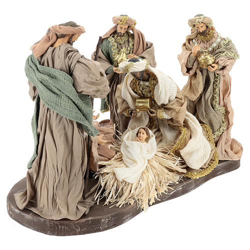 Nativity set 30 cm, in terracotta on base diam 40 cm 4