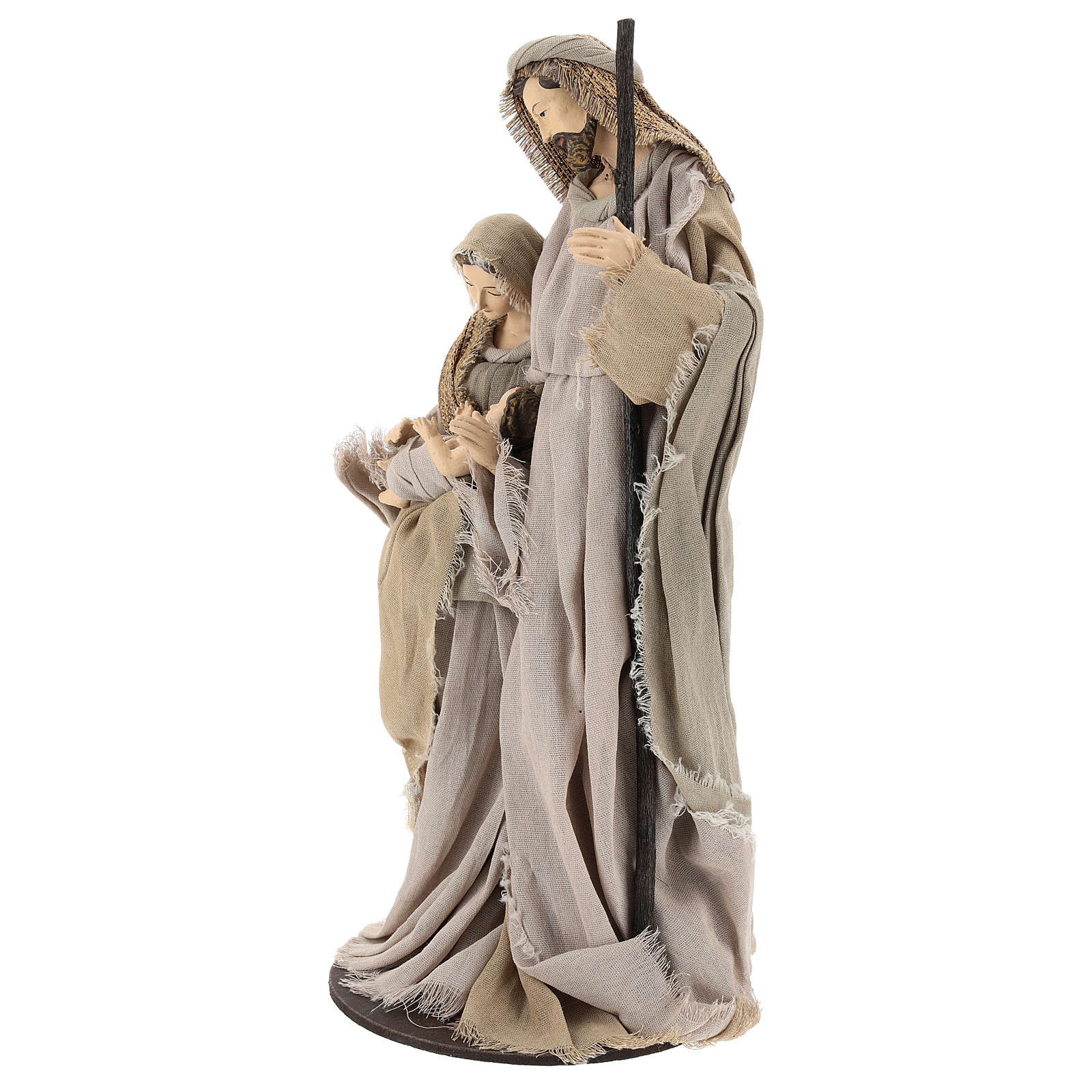 Nativity 40 cm resin Shabby Chic style with gauze clothes in shades of beige 3