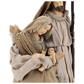 Nativity 40 cm resin Shabby Chic style with gauze clothes in shades of beige s2