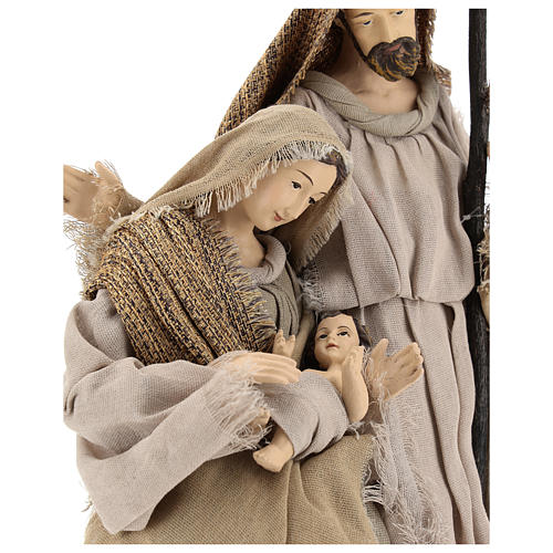 Nativity 40 cm resin Shabby Chic style with gauze clothes in shades of beige 2
