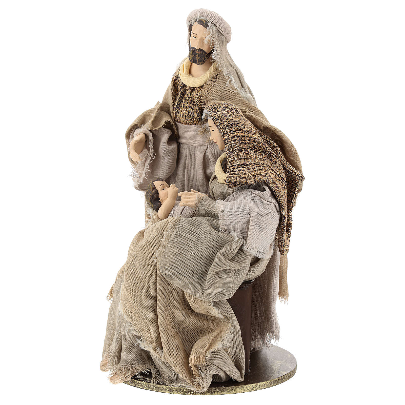 Nativity in resin 30 cm Shabby Chic style with gauze clothes in shades of beige 3