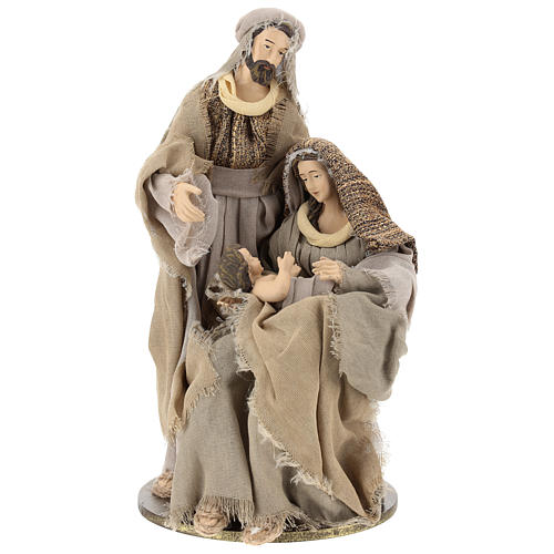 Nativity in resin 30 cm Shabby Chic style with gauze clothes in shades of beige 1