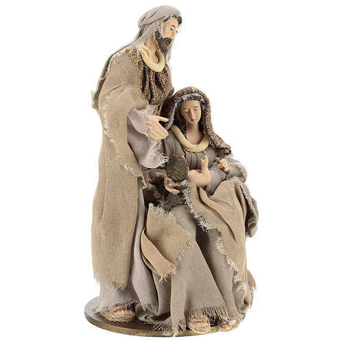 Nativity in resin 30 cm Shabby Chic style with gauze clothes in shades of beige 4