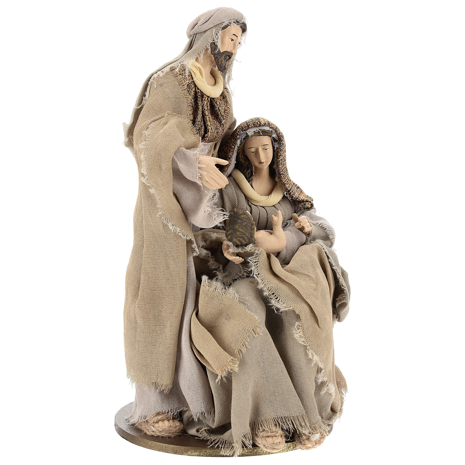 Natività in resina 30 cm su base unica toni beige 3