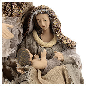 Natività in resina 30 cm su base unica toni beige s2