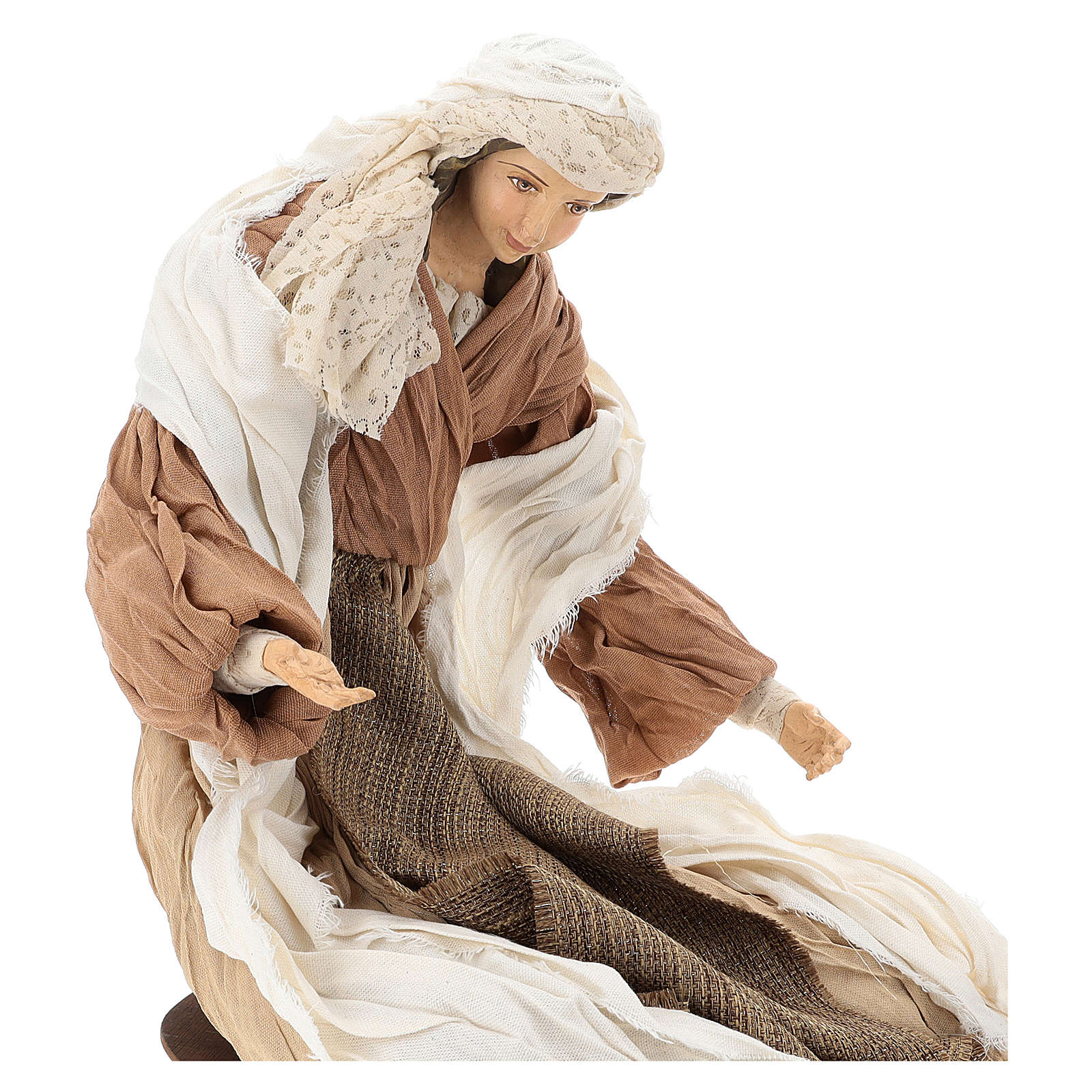 Nativity 60 cm resin and tempera in Shabby Chic style, with clothes made of bronze-coloured fabric 3