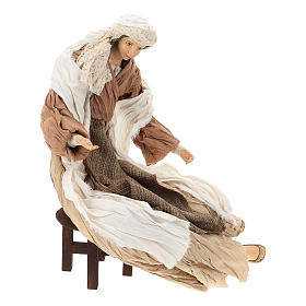 Nativity 60 cm resin and tempera in Shabby Chic style, with clothes made of bronze-coloured fabric s5