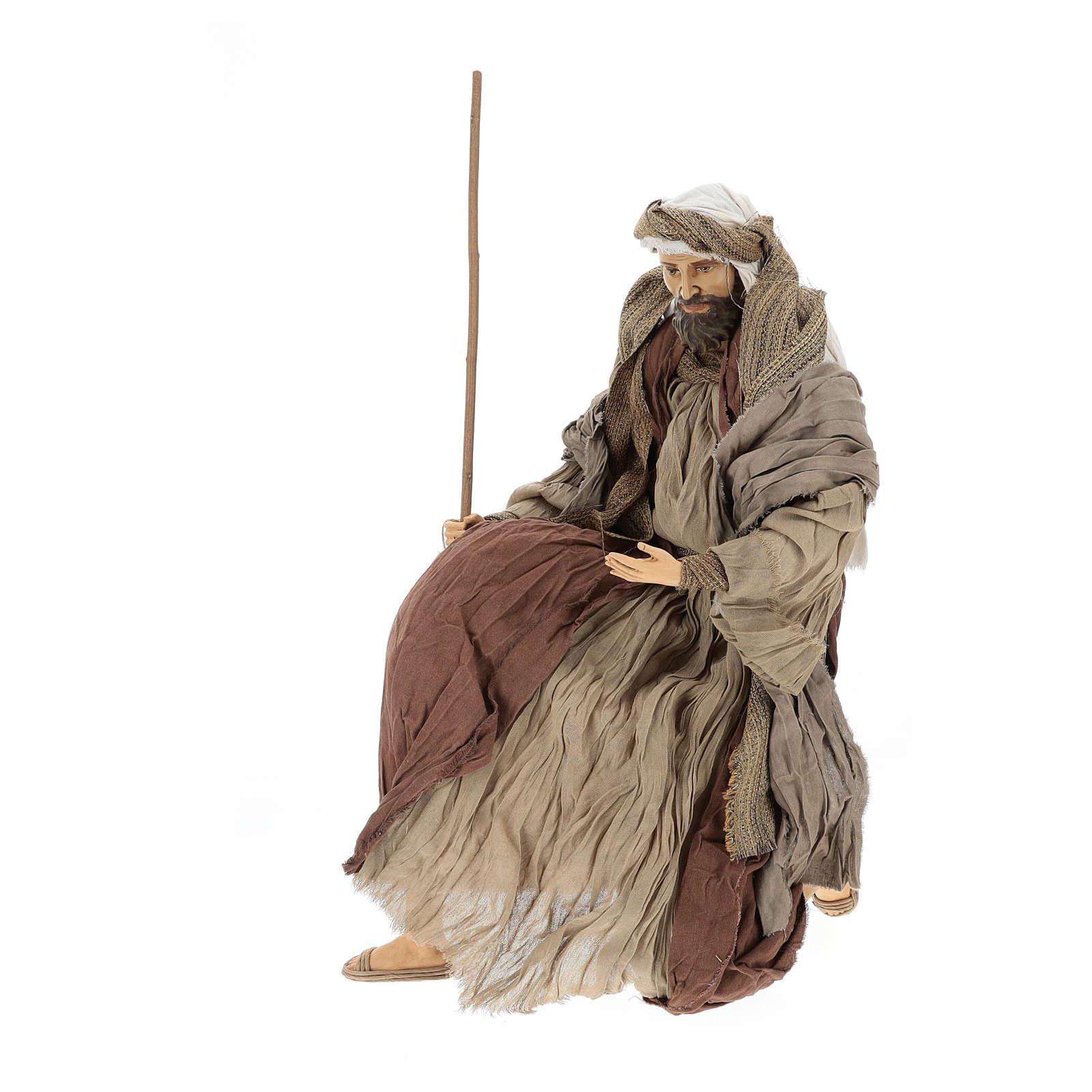 Nativité 60 cm en résine et tissu couleur bronze 3