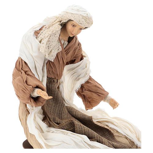 Nativité 60 cm en résine et tissu couleur bronze 2