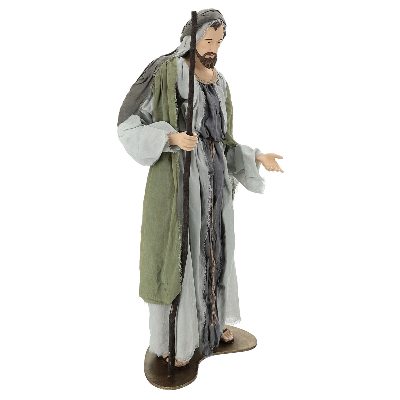 Holy Family statue 120 cm, in resin and green and grey fabric 3