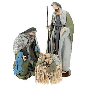 Holy Family statue 120 cm, in resin and green and grey fabric s1