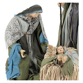 Holy Family statue 120 cm, in resin and green and grey fabric s2