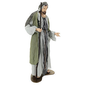 Holy Family statue 120 cm, in resin and green and grey fabric s5