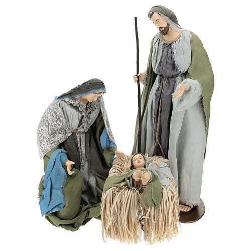 Holy Family statue 120 cm, in resin and green and grey fabric 1