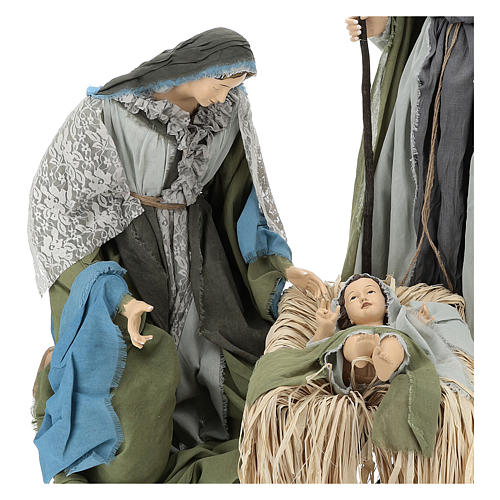 Holy Family statue 120 cm, in resin and green and grey fabric 2
