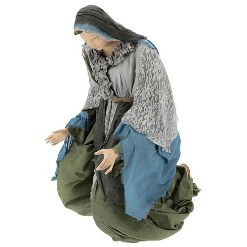 Holy Family statue 120 cm, in resin and green and grey fabric 4