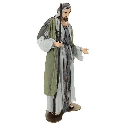 Holy Family statue 120 cm, in resin and green and grey fabric 5