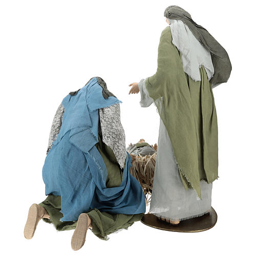 Holy Family statue 120 cm, in resin and green and grey fabric 6