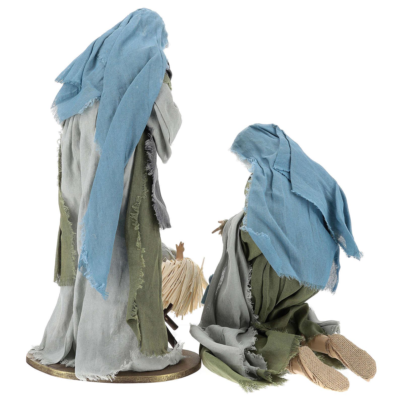 Natività 60 cm in resina con tessuto verde e grigio 3