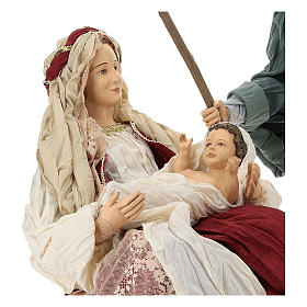 Country nativity 81 cm in resin Shabby Chic style with gauze clothes in various colors: ivory, red, blue s2