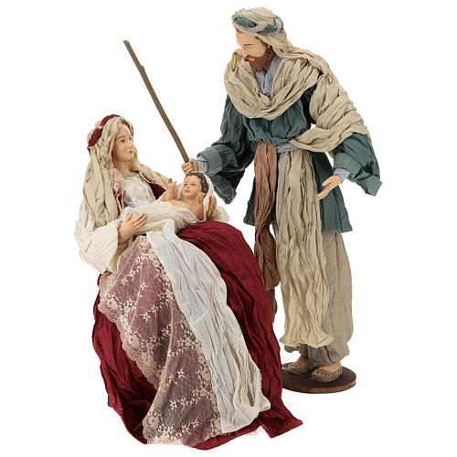 Country nativity 81 cm in resin Shabby Chic style with gauze clothes in various colors: ivory, red, blue 1