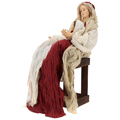 Country nativity 81 cm in resin Shabby Chic style with gauze clothes in various colors: ivory, red, blue 3
