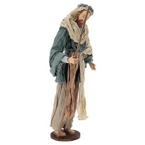 Country nativity 81 cm in resin Shabby Chic style with gauze clothes in various colors: ivory, red, blue 4