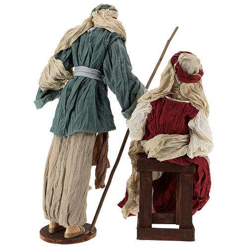 Country nativity 81 cm in resin Shabby Chic style with gauze clothes in various colors: ivory, red, blue 5