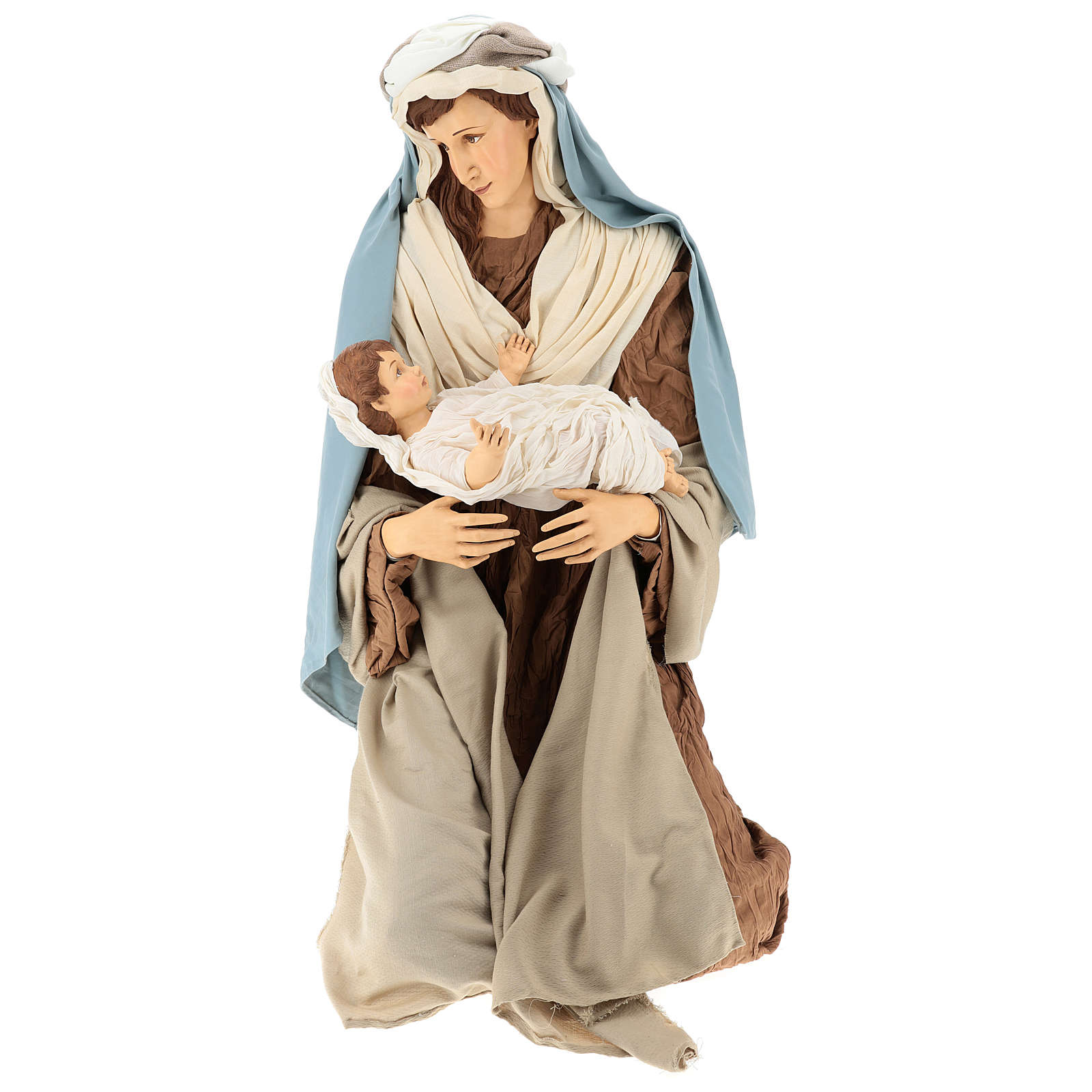 Lifesize Nativity 170 cm in resin and fabric in Shabby Chic style 3