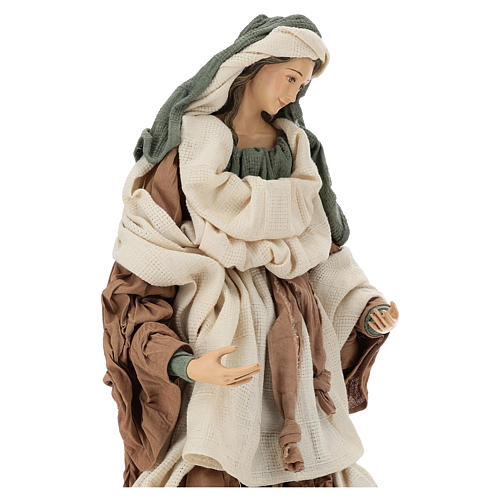 Nativity 80 cm Shabby Chic style in resin with gauze clothes in shades of beige and burgundy 2