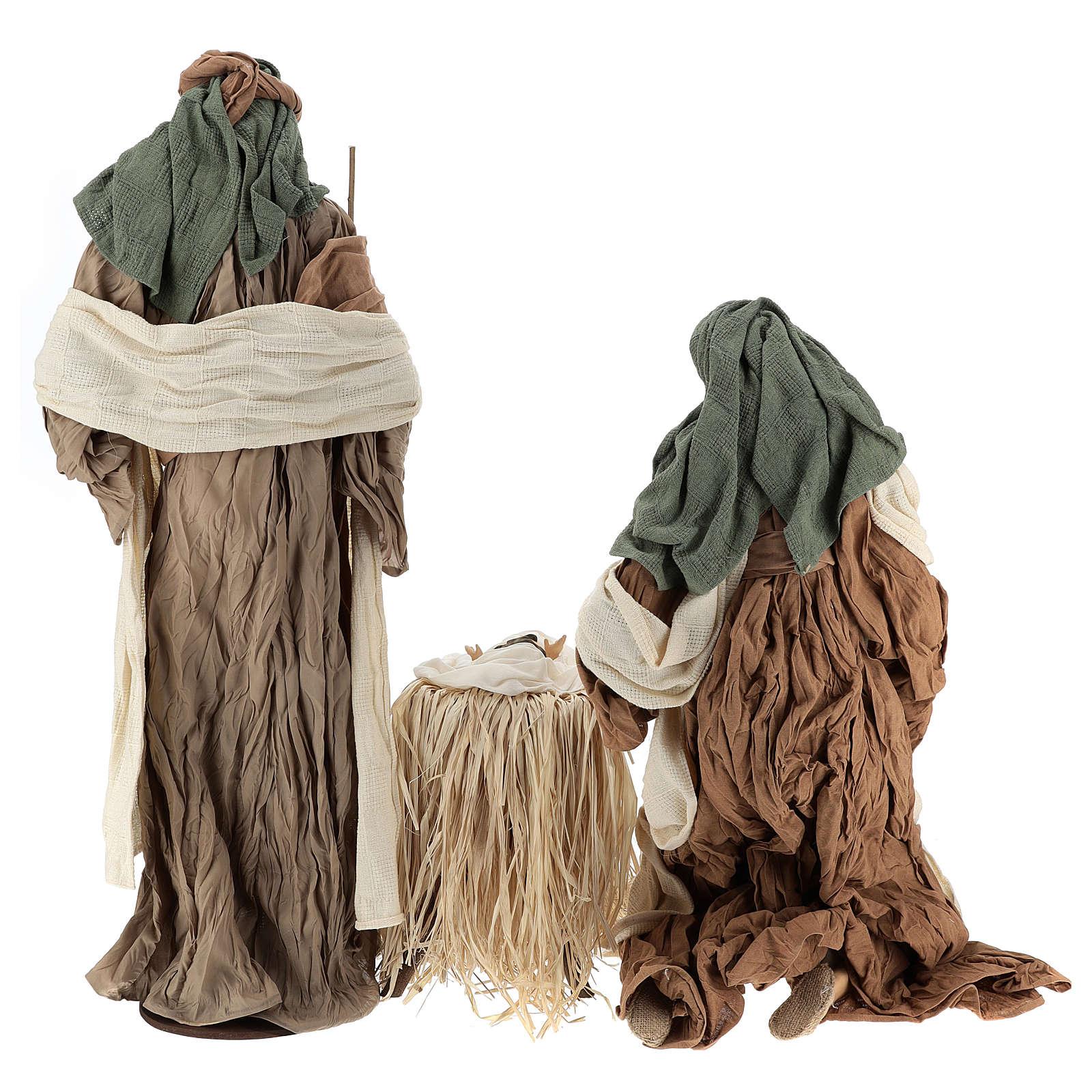Nativité 80 cm en terre cuite et tissu beige bordeaux 3