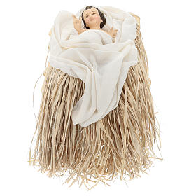Nativité 80 cm en terre cuite et tissu beige bordeaux s3