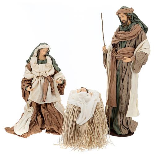 Nativité 80 cm en terre cuite et tissu beige bordeaux 1