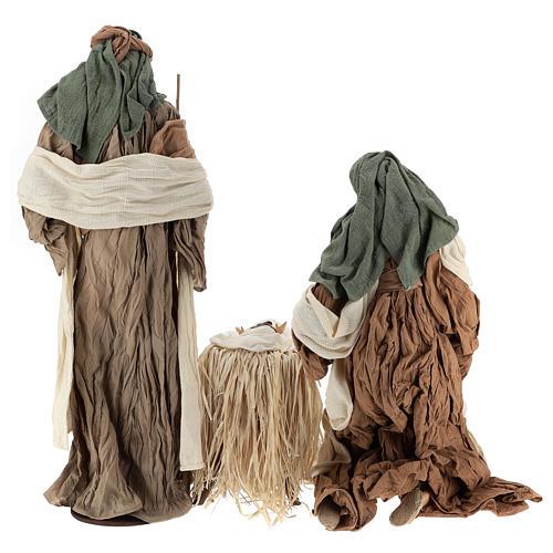 Nativité 80 cm en terre cuite et tissu beige bordeaux 6