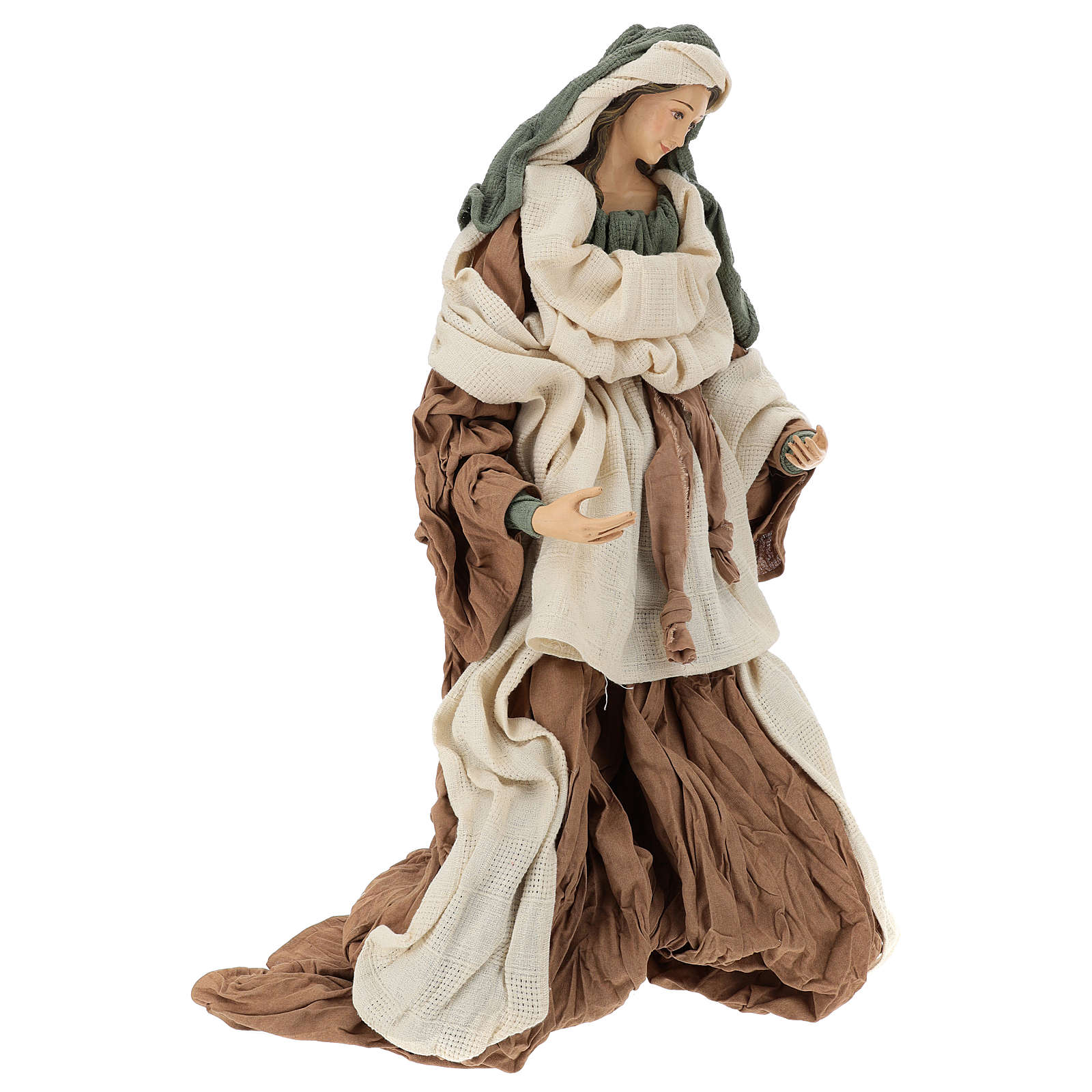 Holy Family set 80 cm, in terracotta beige bordeaux fabric 3