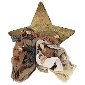 Nativity 30 cm Shabby Chic style in resin and fabric on background with star s1